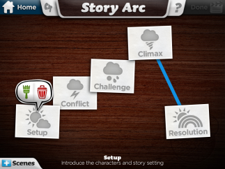 The Story Arc visually guides kids through the story creation process. Each screen is a unique scene that drives the story forward. Up to six scenes allowed per story.