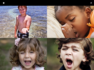 "Kids view four images and hear an emotion word such as ""happy,"" or ""tired."""