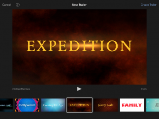 In-app templates help set mood with theme-based styles, fonts, and music; iMovie has 8 movie templates and 14 movie trailer templates.
