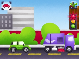 Tap the stoplight to make cars and trucks go, slow down, or stop.
