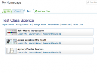 Teachers can set up classes, manage students, assign Gizmos, and view assessment results through the dashboard.