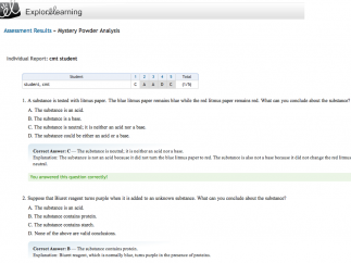 Assessment questions are a good check for mastery; both students and teachers can view and print the results.