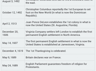 Timeline shows major events in U.S. history from 1492 to present.