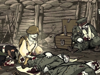 While cartoony, the game does show realities of war like blood, death, and violence.