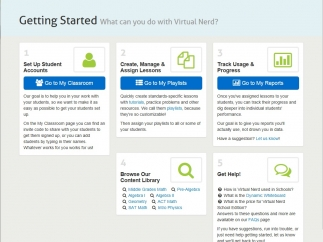 The homepage provides easy access to browsing content, setting up your online classroom, tracking student progress, or help options.
