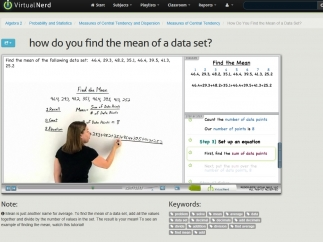 Each tutorial provides a video of a teacher lecturing on a topic, a diagram, and step-by-step notes.