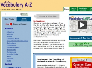 From the main page, you can browse vocabulary lists by category.