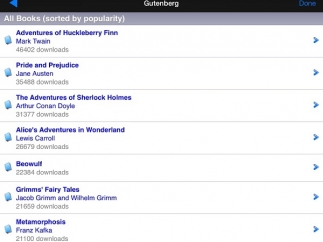 Students can easily download free epub books through Project Gutenberg.