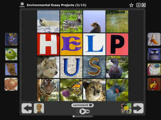 Each image is front and center with comments and contributions around the edge of the project. Each icon represents content that users have added to the thread.