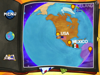 Kids can view the map, menu, or the scrapbook that includes all the stickers and postcards they've earned.