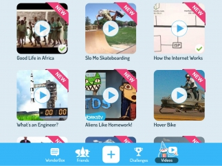 Or just explore the videos to find something interesting; the bottom menu takes kids to various messaging features, the challenge menu, or a blank canvas.