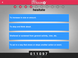 Kids start with the Word Dynamo Challenge for their schooling level (elementary, middle, high school, or college), completing a quiz defining ten words which gives them a word score that estimates how many words they probably know and creates a learning path for them.