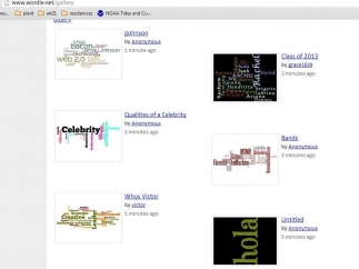 When they're done, users can submit their word clouds to the site's gallery or browse other users' clouds.