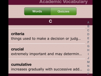 Word lists include brief definitions, and students can select a word to see more details.