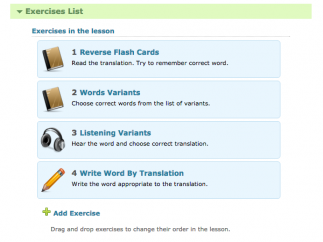 Kids learn words through customizable sets of exercises.