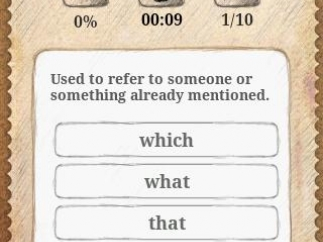 """A question in the """"word"""" version of the quiz section."""