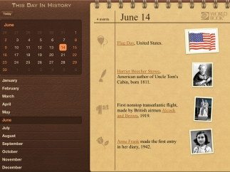 In landscape view, the calendar is visible for easy browsing.