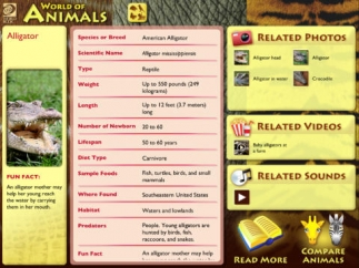 Explore stats, facts, images, and videos of 200 animals.