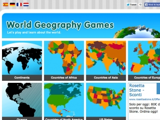 Choose a geography category to start a quiz – ads appear on the right.