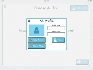 Students sharing devices can each create an author's profile to easily save work.