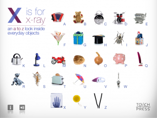 All 26 letters of the English alphabet have an object to explore.