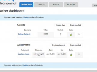 Teacher can create classes, add students, create assignments, and monitor students from the dashboard.