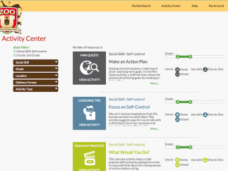 The teacher dashboard provides a multitude of resources organized by specific social skill.