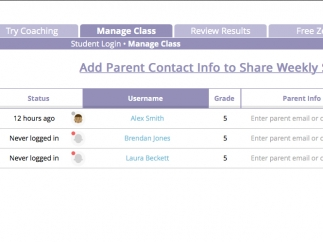 Teachers can add parent info and share student reports and progress.