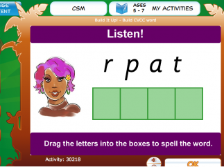 "An example learning activity from the ""words"" category"