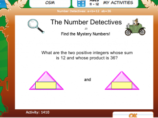 An example math learning activity