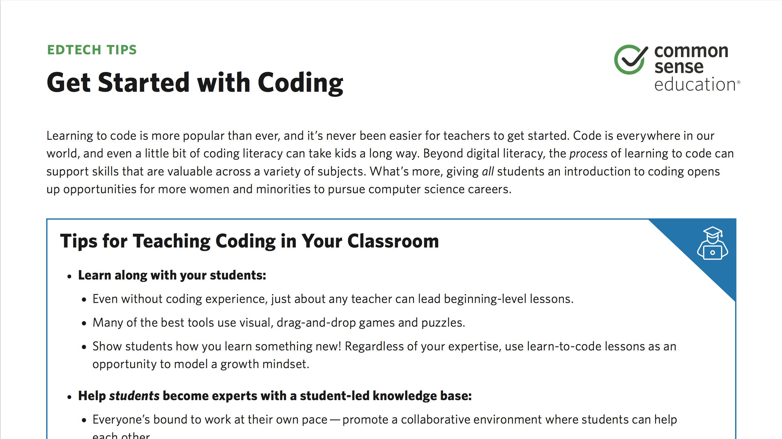 Tip Sheet: Get Started with Coding | Common Sense Education