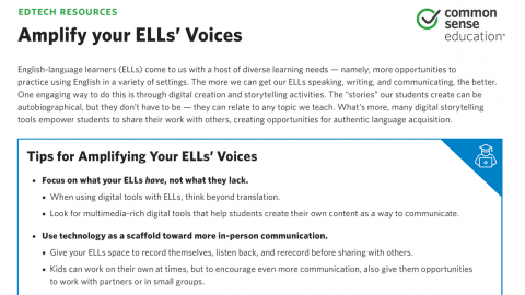 Amplify Your Ells Voices With Digital Storytelling Common Sense