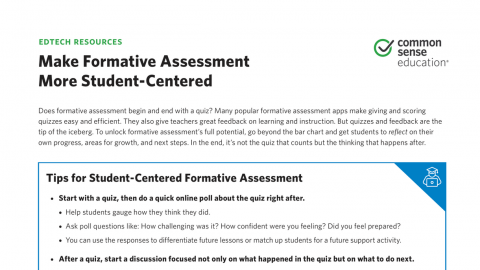 Cheat Sheet: Make Formative Assessment More Student Centered