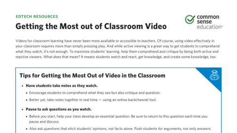 Use Video in the Classroom to Stimulate Critical Thinking