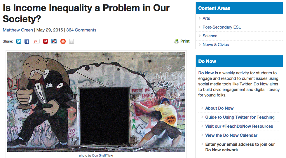 income inequality page screenshot on KQED website